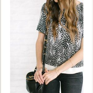 Topshop Black & White Feather Print Blouse